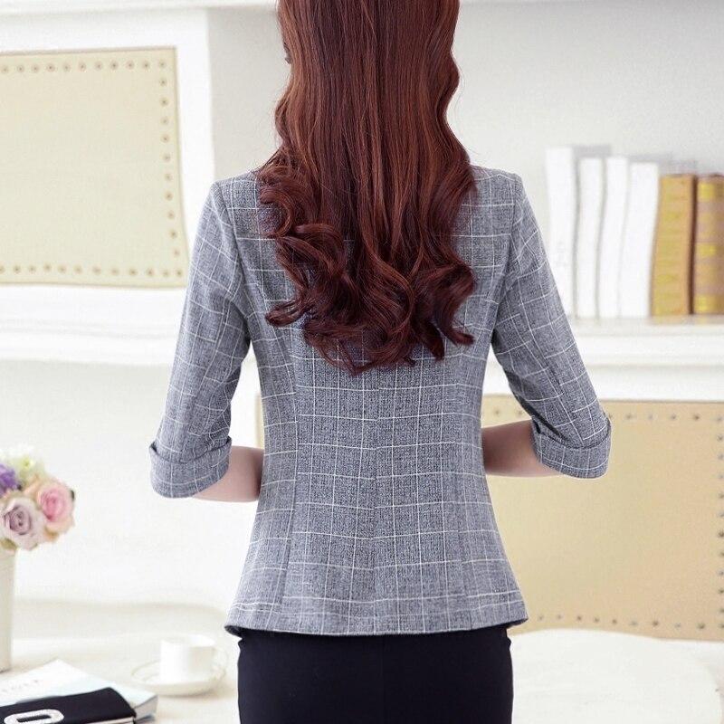 Women Plaid Blazer 2020 Elegant Long Sleeve Turn Down Collar Office Jacket Casual Female Outerwear Femme Suit  Blazer Plus Size
