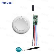 FunDeal 433 MHz 미니 무선 원격 제어 스위치 RF 푸시 버튼 송신기 수신기 3.7v 4.5v 9v 12v 24v 전원 스위치 모듈