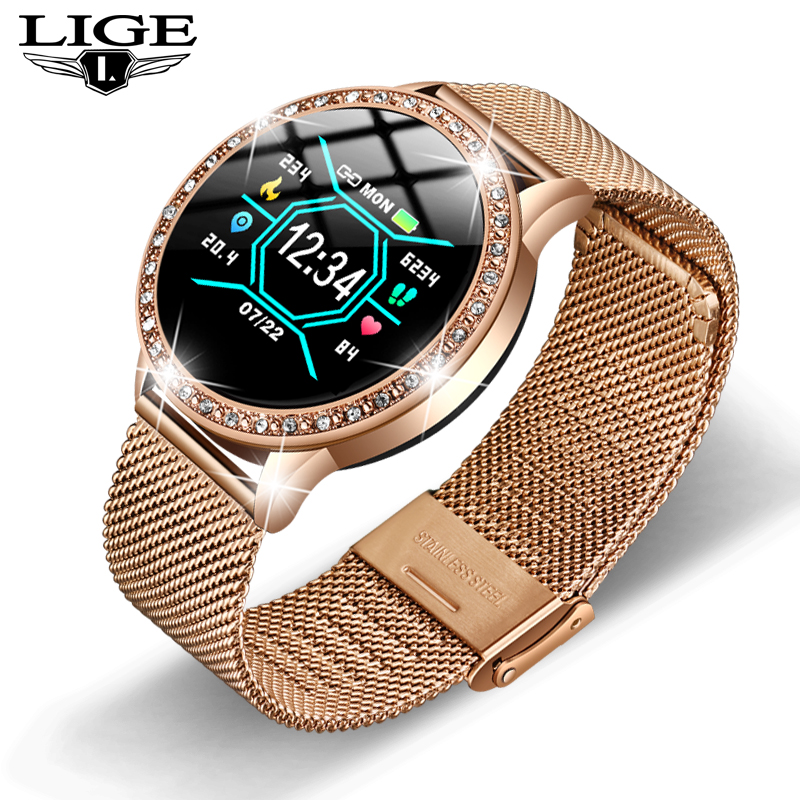 LIGE Fashion Woman Watch Sports Fitness Tracker for Android ios Heart Rate Sphygmomanometer Pedometer Waterproof Watch Women