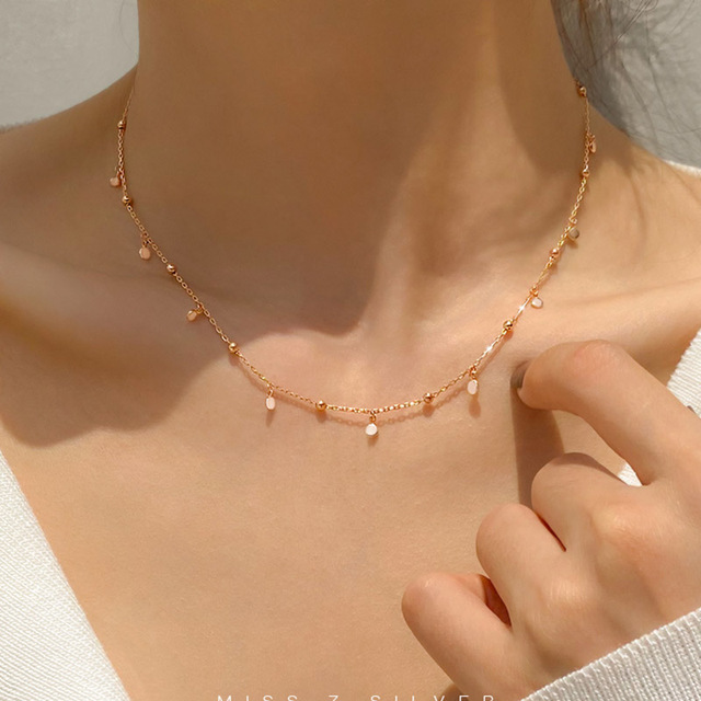 Real 925 Sterling Silver Geometric Round Choker Necklace For Fashion Women Minimalist Fine Jewelry Cute Accessories gift 4