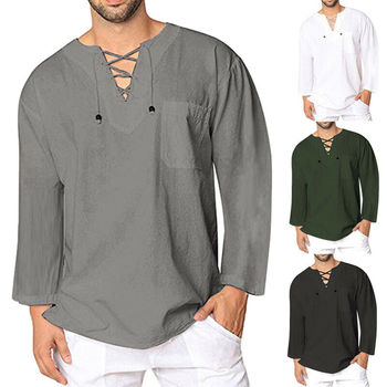 2019 Fashion Mens Casual Solid Color T Shirt Cotton Linen Tee Hippie Shirts Long Sleeve Tops Size M-XXXL