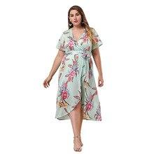 Women Dress Summer Selling Dress Short-sleeved V-neck Printed Straps Slim Dress New Women's Clothing