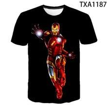 Moda de ferro 3d impressão camiseta verão masculina casual manga curta menino menina camiseta 4t-14t 2021the novo