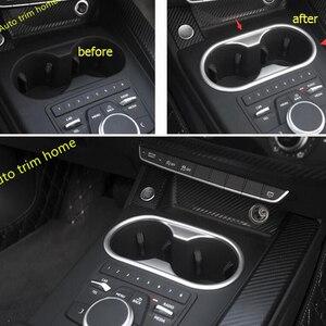 Image 2 - LAPETUS przednie siedzenie ramka trzymająca kubek z wodą Panel obudowa zgrabna Fit dla Audi A4 B9 A5 2016   2020 ABS Chrome wnętrze zestaw