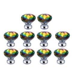 10 sztuk 30mm kryształowe szklane gałki do drzwi diamentowy kształt jasne błyszczące gałki do szuflady uchwyt do szafki szafka Home Decor w Klamki do drzwi od Majsterkowanie na