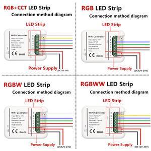 Image 2 - DC12V 24V Wifi LED בקר RGB/RGBW/RGBWW הרצועה 16 מיליון צבעים מוסיקה וטיימר מצב Wifi שליטה על ידי IOS/אנדרואיד Smartphone