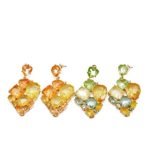 Free Shipping Geometric Alloy Orange Mixed Color Earring Stud