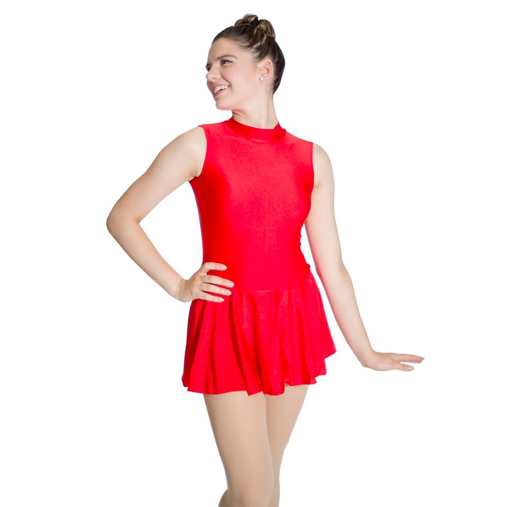 Red Nylon/Lycra Sleeveless High Neck Leotard Dress with Zipper Back Training Dancewear for Girls and Ladies