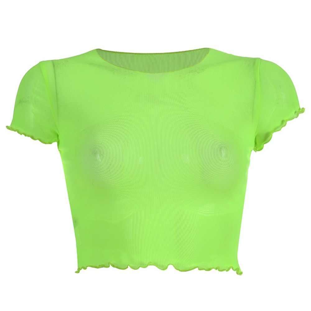 מזדמן ניאון ירוק רשת נשית העליון שקוף מוצק קצר שרוול יבול למעלה 2019 קיץ streetwear חולצת טי טי חולצה femme