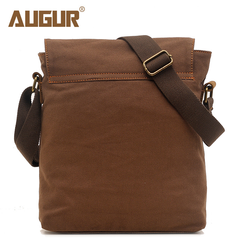 AUGUR Small Canvas Vintage Shoulder Bag Multi-Pockets Crossbody Business Messenger Bags Sling Shoulder Backpack Travel Portfolio Bag for Men