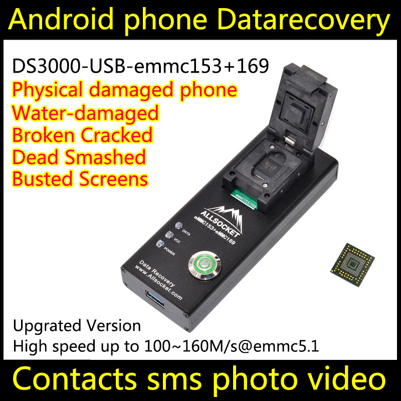 ALLSOCKET DS3000-USB eMMC169//153 Socket BGA169 BGA153 Reader Chip-Off Recovery Extract Data from Broken Water Physical Damage Android Smartphones,eMMC Device LED TV GPS THGBMFG8C4LBAIR