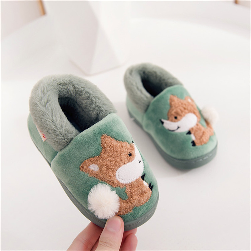 Cute Kids Slippers Shoes Cartoon Fox Animal Indoor Slippers For 1.5-7years Child Boys Girls Home Shoes Bedroom Slippers
