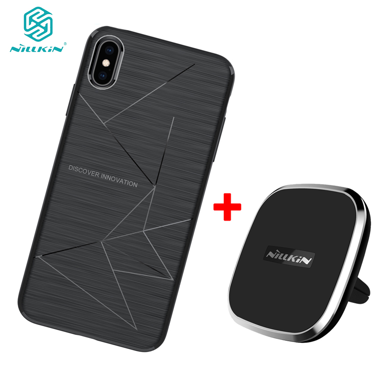 For iPhone XS NILLKIN Qi Magnetic Wireless Charger Receiver for iPhone XR Wireless Charger Car Pad & Magic Case for iPhone X