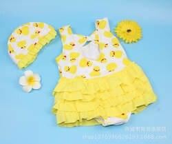 Детские купальники Место происхождения поставки товаров Южная Корея девушки купальник Xiqi маленькая Желтая утка цельный мультфильм