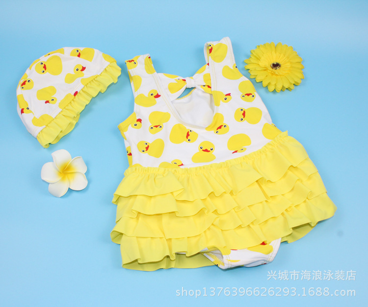 KID'S Swimwear Place Of Origin Supply Of Goods South Korea GIRL'S Swimsuit Xiqi Small Yellow Duck One-piece Cartoon Printed Baby