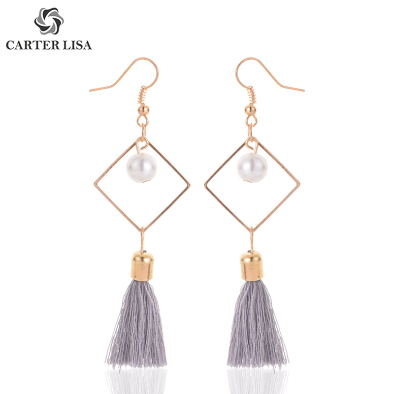 CARTER LISA Bohemian2019 Fashion Gold/Silver Hollow Square With Pearl Long Tassel Drop Dangling Earrings For Women HLE0122000