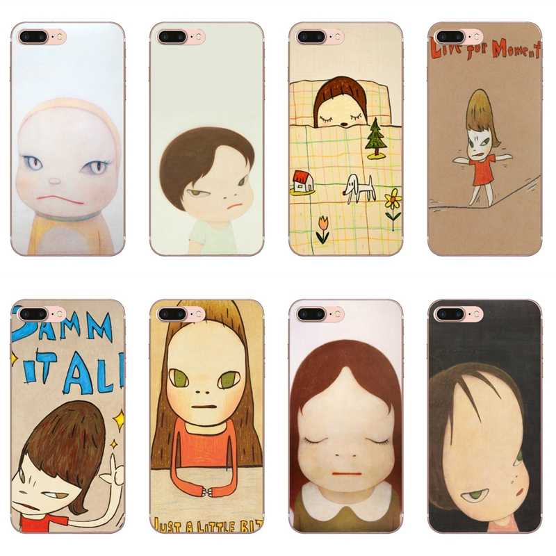 Cartoon Yoshitomo Nara Fall für iPhone 11 Pro XS Max XR X 8 7 6 6S Plus 5 5S SE Silikon Soft Cover Fall