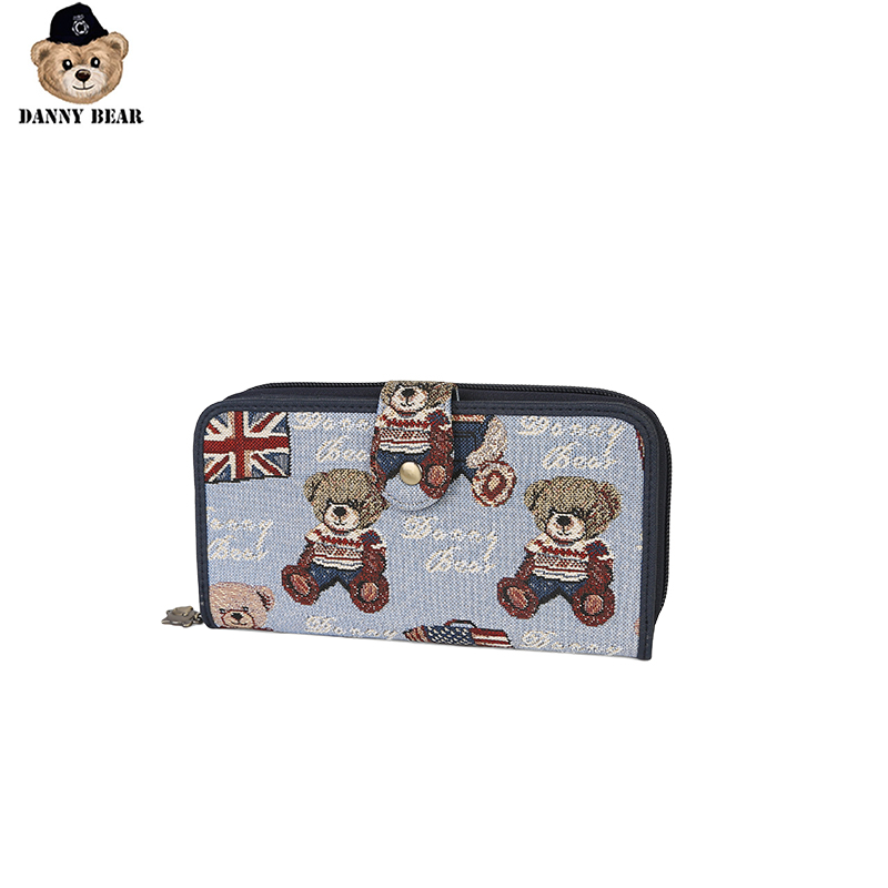 Danny Bear Fabric Key ID Card Holder Long Style Coin Purse Fashion Wallet Bear Flag Print Money DBWB6112007