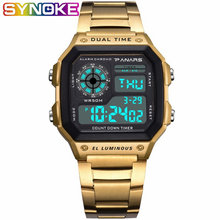SYNOKE Men Digital Watch Retro Waterproof Business Watches G Sport Wristwatches Shock Stainless Steel Clock Relogio Masculino(China)