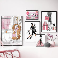 Sac à main de Shopping pour fille, toile d'art de maison, peinture, affiches et imprimés nordiques, photos murales pour décor de Salon
