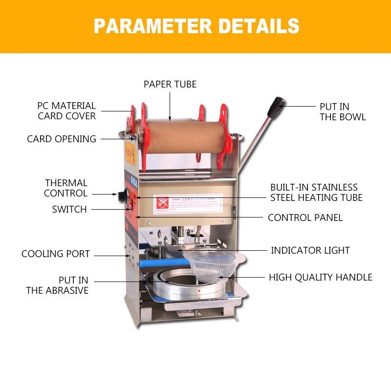 Scelleur d'emballage de plateaux de Machine de cachetage de boîte à déjeuner en plastique manuel pour la Machine fraîche de cachetage de boîte à déjeuner de serrure d'emballage à emporter de nourriture - 2