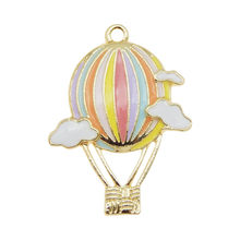 4pcs Enamel Air Balloon Design Charms Alloy Pendant Gold Tone Cloud Pattern For Bracelet Jewelry Making Accessory 31*23mm 5pcs alloy enamel heels hat coat charms with artificial pearl gold tone charm for women earring bracelet jewelry diy accessory
