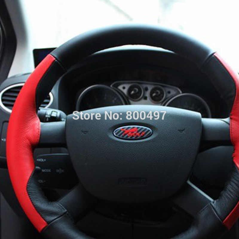 ใหม่ล่าสุด 3D คาร์บอนไฟเบอร์ไวนิลชุดพวงมาลัยล้อสัญลักษณ์ล้อ Hub สติกเกอร์หมาป่า Decasl สำหรับ Ford Focus MK1 MK2 MK3 โฟกัส ST RS