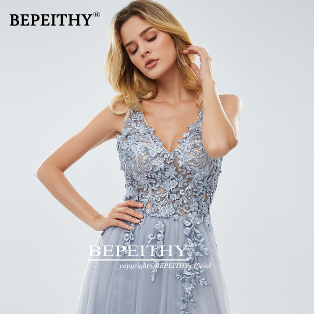 2020 A-linr Gray Long Dress Evening Dresses With Slit Robe De Mariee Elegant Lace Prom Party Gown платье вечернее 4