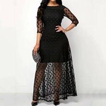 Vestido De fiesta De malla para mujer, vestido largo informal De encaje con cuello redondo para Verano