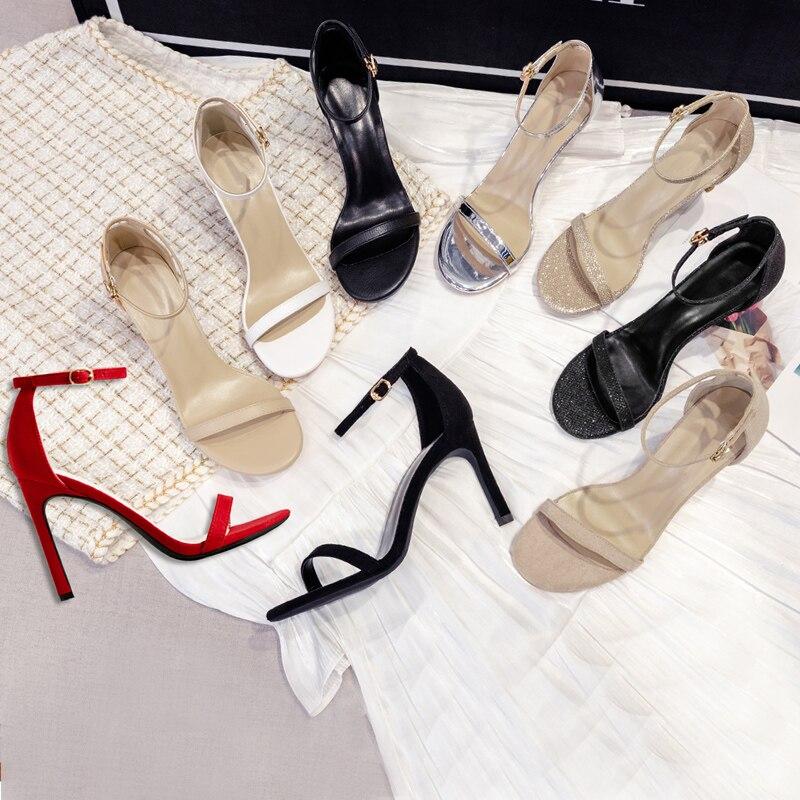 Sexy Word Buckle Sandals Women 2020 Summer New Fairy Style Small Ck Wild High Heels Fine Heel Fashion Shoes Women Sandals