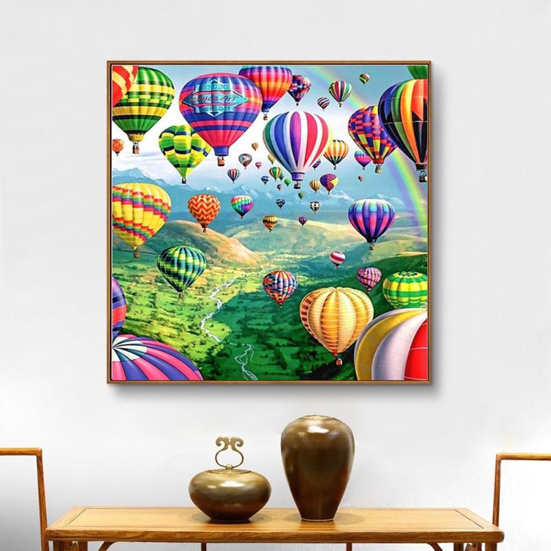 DIY 5D Diamond Painting Kit Full Diamond Rhinestone Embroidery Cross Stitch Hot Air Balloon Arts Craft for Canvas Wall Decor
