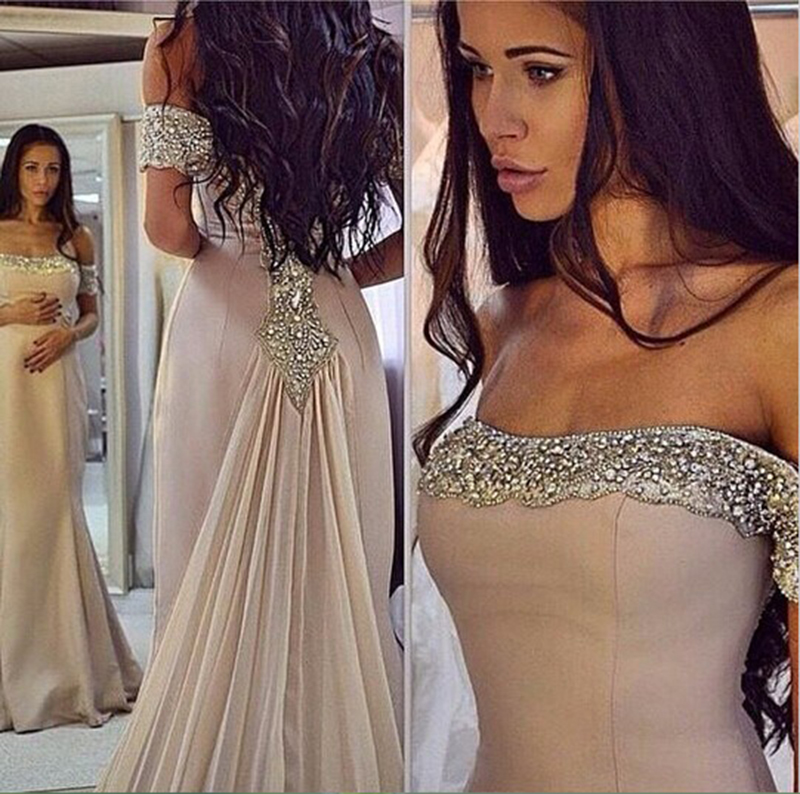 Sparkling Off The Shoulder Prom Dresses 2020 Chiffon Mermaid Evening Dresses Beads Arabic Custom Made Cheap Party Prom Gowns