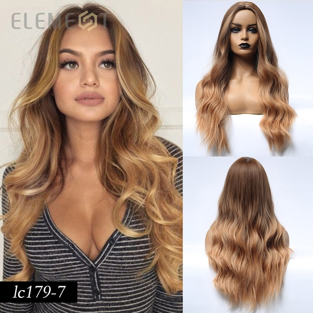 Element Long Brown Hair Synthetic Natural Wave Wigs for White/Black Women Heat Resistant Fiber Party or Daily Wig