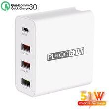 51W QC3.0 아이폰에 대 한 빠른 충전기 삼성 화 웨이 PD18W 스마트 USB 소켓 4 콘센트 확장 어댑터 소켓 빠른 충전 충전기
