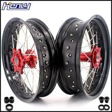 3,5& 4,25 Supermoto спицевые колеса Набор для бета RR 2013- красный концентратор черный обод