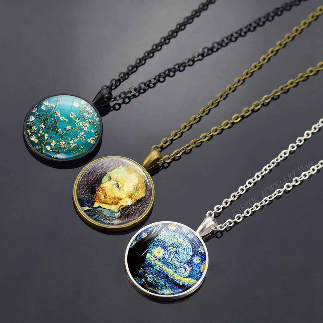 فان جوخ لوحات زيتية فنية قلادة فن الزجاج كابوشون مجوهرات النجوم ليلة السماء عباد الشمس قلادة النساء عاشق فتاة الهدايا