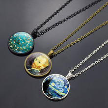 Van Gogh Art Oil Paintings Necklace Glass Cabochon Jewelry Starry Night Sky Sunflower Pendant Women Lover Girl Gifts