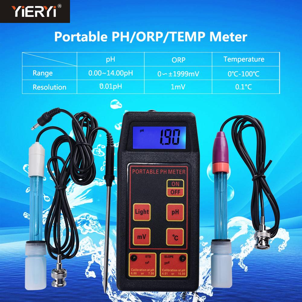 Yieryi 3-in-1 High Accuracy Portable pH/mV/Temp Meter + Replaceable pH & ORP Electrodes + Temperature Probe