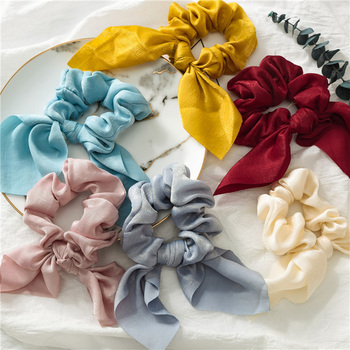 2PCS/Lot Satin Bowknot Elastic Hair Bands Scrunchies For Women Girls Solid Headband Hair Ties Ponytail Holder Hair Accessories 20 pcs lot solid velvet hair scrunchies elastic hair ties bands women girls headwear ponytail holder korean hair accessories