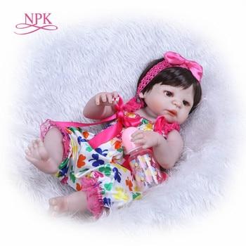 NPK 48CM Silicone Reborn Baby Dolls Cute Bebe Doll Clothes Lovely Bebes Reborn Menina 19inch Hot Birthday Gift For Children