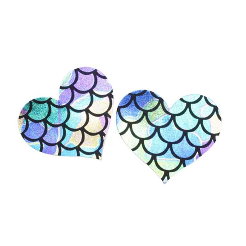 Paillettes Sexy femmes poisson échelle Style seins autocollants Invisible sein soutien-gorge Pad mamelon couverture Anti vide poitrine pâte intime