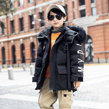 Down-Jacket Coat Teenage-Coats Hooded Boys Winter Children's Long Letter for Thick 6/8/10/12-14-year