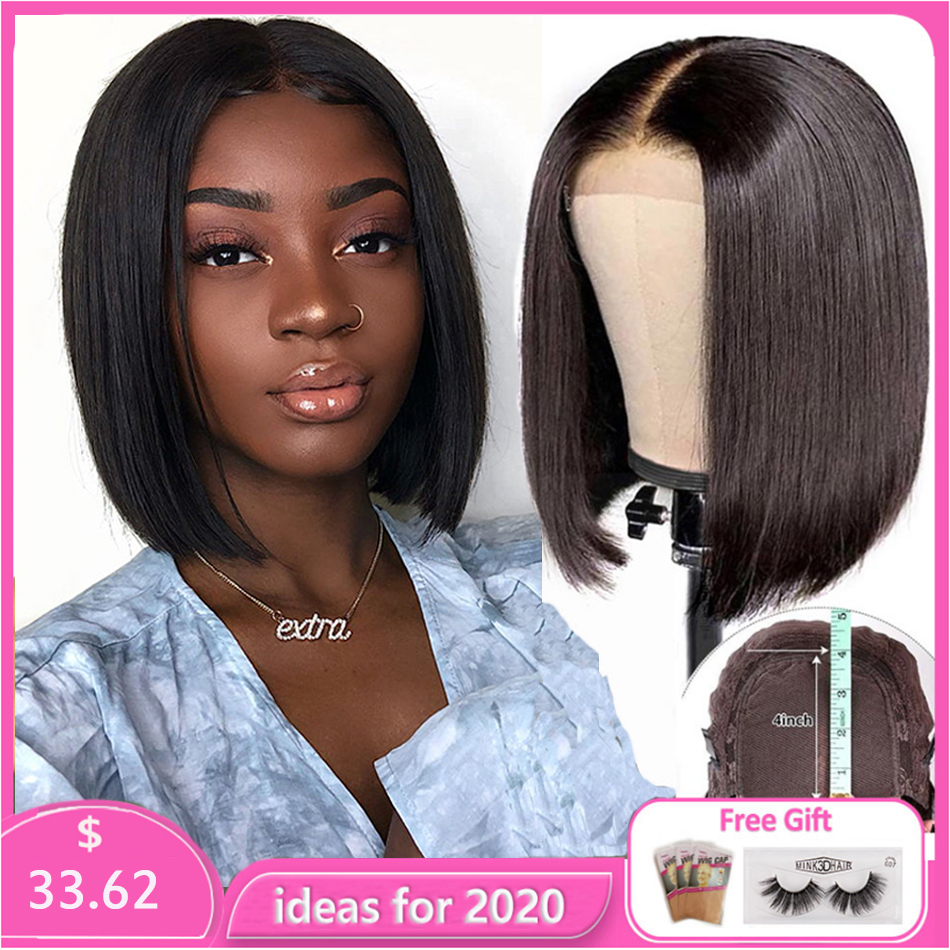 Jaycee 4*4 Lace Closure Wig Straight Human Hair Wigs For Black Women150% Density Short Bob Brazilian Hair Wigs With Baby Hair