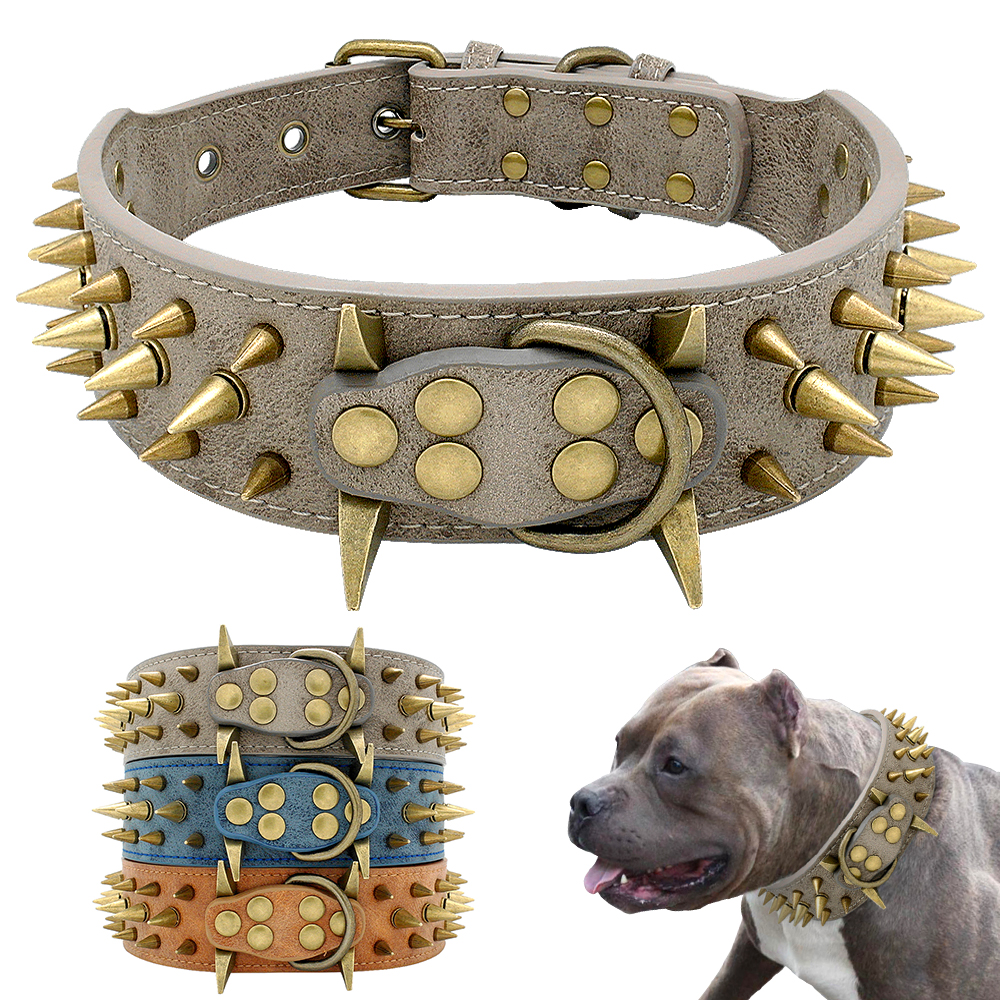 Black SKULL Sharp Studs Spikes Rivet Dog Pet Leather Collar Pit Bull Punk Choke