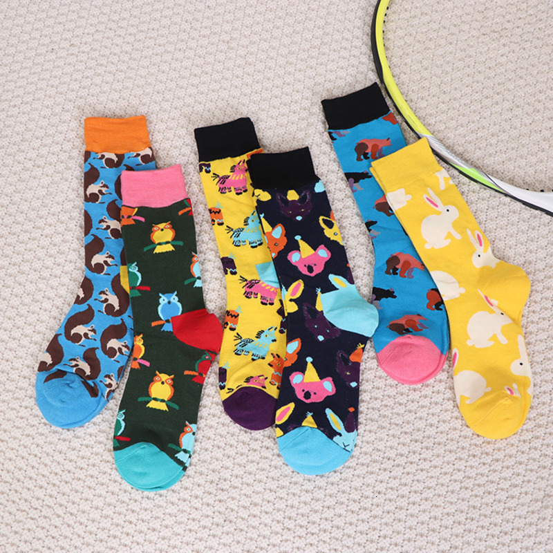 6 Pairs/lot Happy Crew Socks Unisex Funny Pattern Owl Squirrel Koala Bear Rabbit  Colored Style Cotton Street Men Stockings