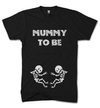 Halloween Mummy To Be Twins T Shirt Skeleton Baby Scary Funny Pregnant Costume 2019 fashion t shirt 100% cotton tee shirt(China)