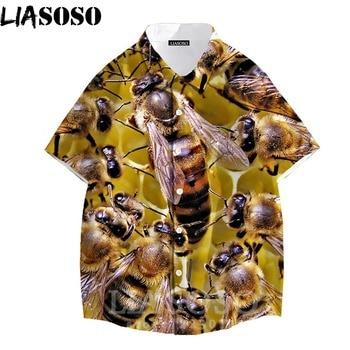 LIASOSO Bee Button Shirt Mens 3D Color Print Animal Flower Short Sleeve Women Turn-down Collar Men Loose Coat Streetwear