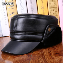 SILOQIN Dad Hat Quality Genuine Leather Middle-aged Men Winter Warm Thicken Flat cap Sheepskin Earmuffs Velvet Military Hats