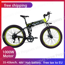 1000W Electric Fat Tire Bike 26 Inches Folding Beach Electric Bicycle Mountain Bike 7 Speed Snow