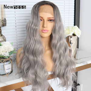 Image 3 - Ombre גריי ארוך Loose גל תחרה קדמי פאות עם שיער טבעי חום עמידות פאות עבור נשים